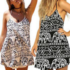 Chic Womens Ladies Summer Elephant Print Cocktail Party Evening Beach Mini Dress