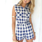 Women Fashion Plaid Sleeveless Loose Playsui Bodycon Party Jumpsuit Short Romper