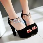 Women's Tassels Block High Heel Open Toe Platform Sandal Pumps Shoes Plus Size