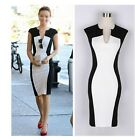 Celeb Women V neck Contrast Slim Bodycon Cocktail Party Evening Pencil Dress -LD