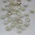100PC 11mm Ivory Faux Pearl Faceted Flower Beads Flatback  Imitation Pearl ZZ334
