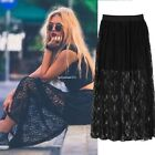 HOT LACE FLORAL HOLLOW PLEATED LONG WOMEN SKIRT DRESS DOUBLE LAYER SUMMER CASUAL