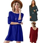 Women Crewneck Plain A Line Party Cocktail Evening Mini Shirt Dress Long Tops