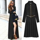 Women Windbreaker Coat Overcoat Full-Length Casual Plus Wool Blend Jacket B20E