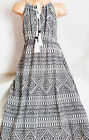 GIRLS CREAMY WHITE BLACK TRIBAL AZTEC PRINT BOHO LONG LENGTH COTTON MAXI DRESS