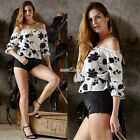 Vintage Women Casual Boho Crop Tops Floral Sexy Off Shoulder Summer Shirt Blouse