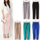 Casual Womens Drawstring Elastic Waist Chiffon Casual Harem Pants Trousers New S