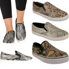 Ladies Womens New Casual Snake Print Slip On Plimsolls Trainers Pumps Shoes 3-8