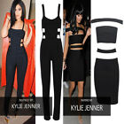 WOMEN'S DESIGNER FASHION BLACK CUT OUT CELEB INSPIRED BODYCON DRESS/JUMPSUIT