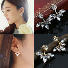 Women Girl's Zircon Crystal leaves Earrings Ear Drops Studs Silver Gold Elegant