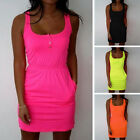 Sexy Women Summer Casual Sleeveless Evening Party Beach Dress Mini Dress 6-18 TY
