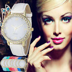 Fashion Women Rhinestone Bracelet Watch Faux Leather Analog Quartz Wrist Watches
