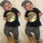 2pcs Baby Toddler Kids T-Shirt Fashion Gold Summer Suit Tops Pants Outfits S0BZ