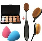 15 Concealer Colours Contour Cream Camouflage Palette, Brush, Sponge