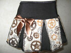New COOL Girls Black Brown industrial cogs gears pleated skirt party gift Punk