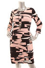 Pre-owned INC Women 3/4 Sleeve Streath Shift Sheath Dress Black Peach White XS M