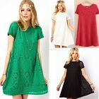 Lady Women Vintage Lace Short Sleeve Evening Formal Cocktail Mini Party Dress