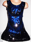 GIRLS 60s STYLE BLACK SEQUIN BLUE FLAME EVENING DANCE DISCO PARTY DRESS