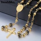 Gold Unisex Mens Chain Bead Rosary Jesus Stainless Steel Cross Pendant Necklace
