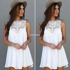 Women Lace Crochet Chiffon Cocktail Party Evening Summer Mini Dress Sleeveless