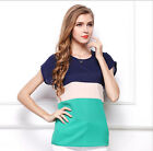 Womens Summer Crew Neck Short Sleeve Contrast Color Chiffon T-shirt Tee Tops