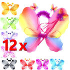 12 x 3Pc Set Butterfly Wings with Wand Fairy Princess Girl Party Costume (BULK)
