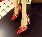 Women's Rivets Kitten Heel Slingback Sandal Strappy Sexy Party Pointed Toe Shoes