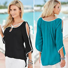Womens Loose Long Sleeve Chiffon T Shirt Sexy Strapless Shirt Casual Blouse