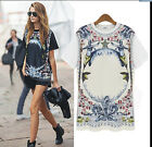 Europe women lady new fashion short sleeve geometric O-neck Tee T-shirt tops