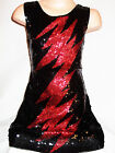 GIRLS 60s STYLE BLACK SEQUIN RED LIGHTNING EVENING DISCO DANCE PARTY DRESS