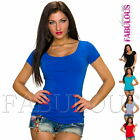 Sexy Women's Short Sleeve Scoop Neck Casual Party Summer Top Shirt Size 8 10 S M
