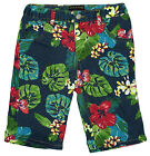 Boys Soul & Glory Floral Leaf Print Cotton Navy Chino Shorts 3 to 8 Years