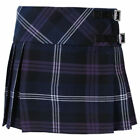 Girls Tartanista Purple Honour Of Scotland Tartan Kilt Skirt Leather Straps