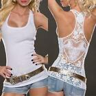 Chic Women Crochet Lace Back Tank Top Sleeveless T-shirt Vest Cami Hollow-out LD