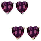 7mm Heart CZ Alexandrite Birthstone Gemstone Stud Earrings 14K White/Yellow Gold