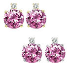 0.01 Carat Diamond Round Pink Topaz Gemstone Earrings 14K White Yellow Gold