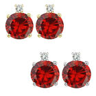0.01 Carat TCW Diamond Round Garnet Gemstone Earrings 14K White Yellow Gold