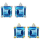 0.01 Carat Diamond Princess Blue Topaz Gemstone Earring 14K White Yellow Gold