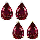 8x5mm Pear CZ Ruby Birthstone Gemstone Stud Earrings 14K White Yellow Gold