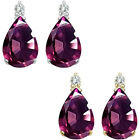 0.01 Carat Diamond Pear Alexandrite Gemstone Earrings 14KWhite Yellow Gold