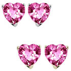 6mm Heart CZ Pink Topaz Birthstone Gemstone Stud Earrings 14K White Yellow Gold