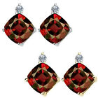 0.01 Carat TCW Diamond Cushion Garnet Gemstone Earring 14K White Yellow Gold