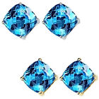 6mm Cushion CZ Blue Topaz Birthstone Gemstone Stud Earring 14K White Yellow Gold