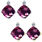 0.01 Carat Diamond Cushion Alexandrite Gemstone Earring 14KWhite Yellow Gold