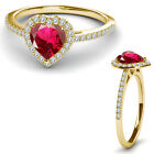 8MM Ruby Birth Gem Stone Halo Solitaire Heart Love Charm Ring 14K Yellow Gold
