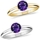 1 Carat Diamond Amethyst GemStone Solitaire 14K White/Yellow Gold Bridal Ring