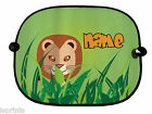 PERSONALISED PAIR OF JUNGLE LION DESIGN CAR SUN SHADES CHILDREN BUS VAN