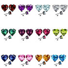 7mm Heart CZ Select Birth Gemstone Stud Earring Silver 14k Gold Plated-BG