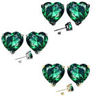 7mm Heart CZ Emerald Birth Gemstone Stud Earring Strling Silver 14k Gold Plated
