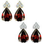 Pear Shape Garnet Gem Birth stone Earrings Silver White/Yellow Gold Plated